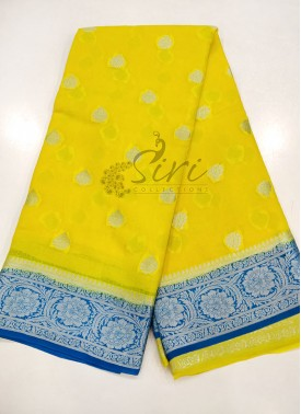 Yellow Copper Sulphate Blue Pure Banarasi Georgette Saree