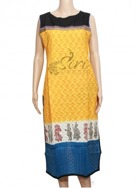 Yellow Cotton Kurti in Printed Self Texture