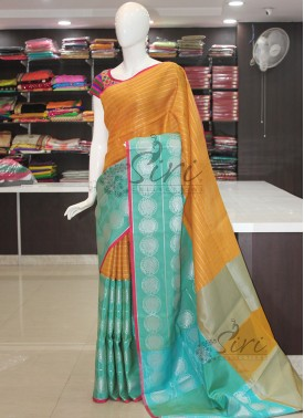 Yellow Cyan Blue Designer Banarasi Kora Saree in Tanchoi Weave