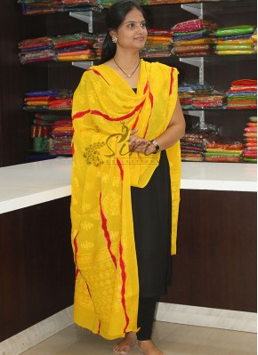 Yellow Dark Red Tie and Dye Pure Chinon Dupatta in Self Embroidery Work