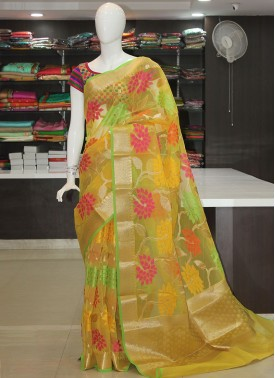 Yellow Designer Organza Saree in Multi Colour Self Weave