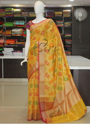 Yellow Designer Saree in All Over Multi Colour Jaal With Rich Pallu