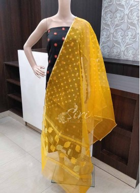 Yellow Fancy Banarasi Jute Net Dupatta