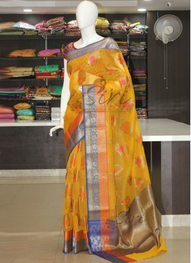 Yellow Fancy Banarasi Munga Checks Saree In Multi Butis