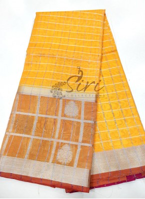 Yellow Fancy Chanderi Cotton Silk Saree in Silver Zari