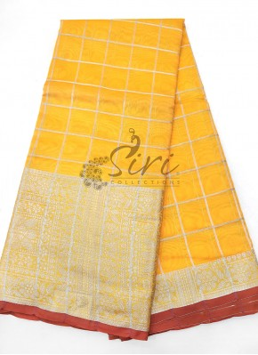 Yellow Fancy Cotton Silk Saree in Silver Zari
