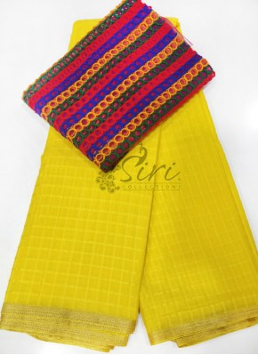 Yellow Fancy Georgette Saree in Self Checks