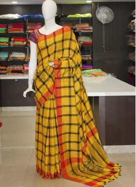 Yellow Fancy Linen Saree in Black Checks