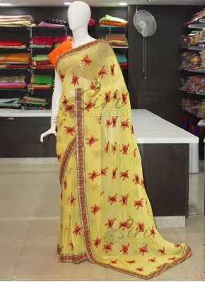 Yellow Georgette Saree in Embroidery Work Motifs