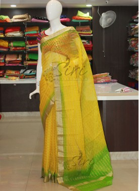 Yellow Green Banarasi Kora Saree in Self Zari Checks