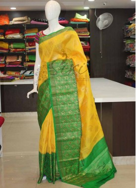 Yellow Green Pure Light Weight Banarasi Silk Saree