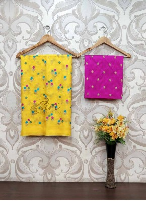 Yellow Jute Silk Saree in Embroidery Work Butis
