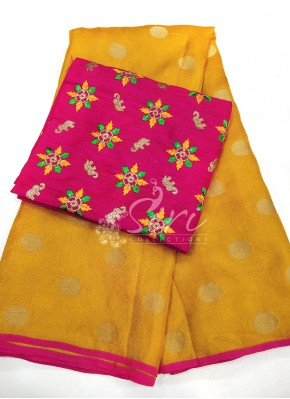 Yellow Jute Silk Saree in Self Polka Dots Weave
