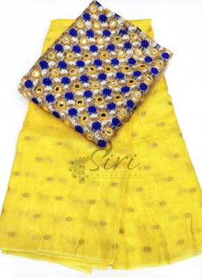 Yellow Jute Silk Saree in Self  Zari Polka Dots