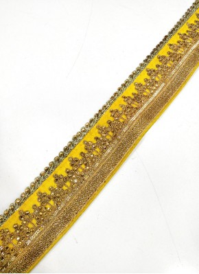 Yellow Lace Trim Border In Cording And Stone Work
