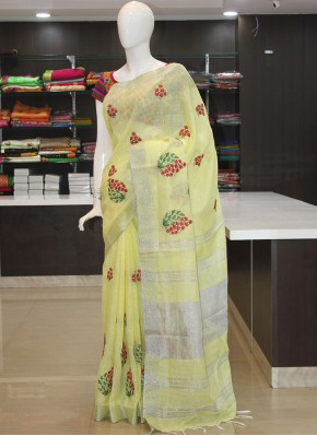 Yellow Linen Saree in Embroidery Work Butis