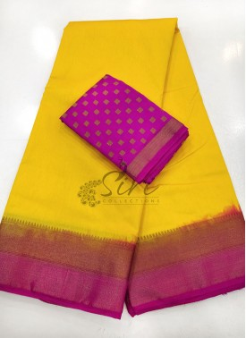 Yellow Magenta Fancy Silk Saree