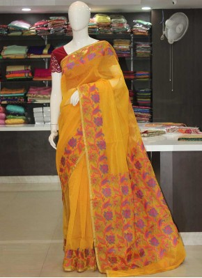 Yellow Manipuri Kora Saree in Self Weave