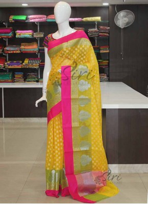 Yellow Mehendi Green Pink Chanderi Cotton Silk Saree