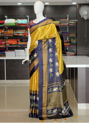 Yellow Navy Blue Digital Print Patola Design Fancy Silk Saree
