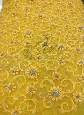 Yellow Net Fabric in Self Embroidery Work and Sequins Work Per Meter