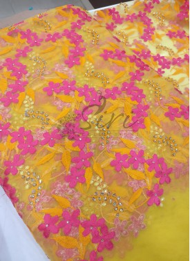Yellow Net Fabric in Yellow and Magenta Pink Embroidery Work Per Meter