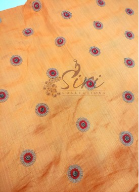 Yellow Orange Double shade Banarasi Silk Fabric in Embroidery Bead Work Butis per Meter