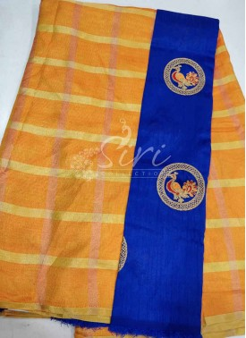 Yellow Orange Double Shade Fancy Kala Silk Saree