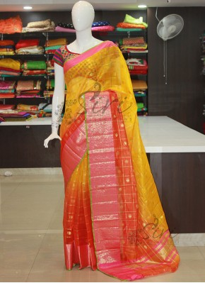 Yellow Orange Shaded Kora Silk Saree
