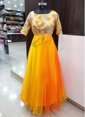 Yellow Orange Shaded Silky Net Long Frock