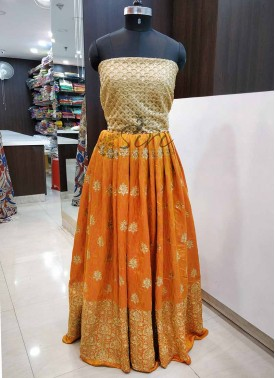 Yellow Orange Silk Unstitched Lehenga Fabric and G