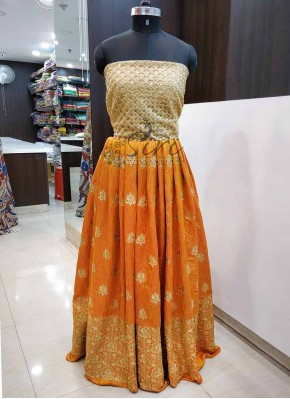 Yellow Orange Silk Unstitched Lehenga Fabric and Gold Net Crop Top Fabric Set