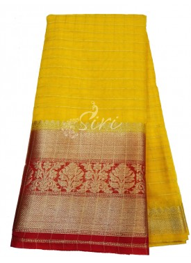 Yellow Organza Checks Fabric with Kanchi Border per meter