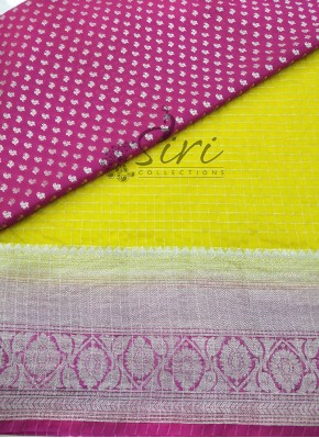 Yellow Organza Lehenga and Magenta Banarasi Silk Blouse Fabric Set