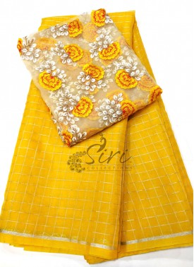 Yellow Organza Saree in Silver Checks with Designer Blouse Fabric