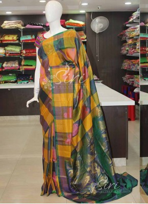 Yellow Peacock Green Checks and Buti Design Uppada Silk Saree