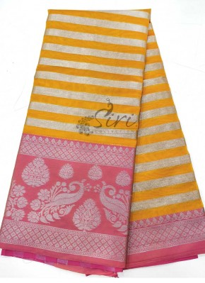 Yellow Pink Fancy Cotton Silk Saree in Silver Zari