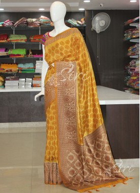 Yellow Printed Fancy Banarasi Dupion Silk Saree
