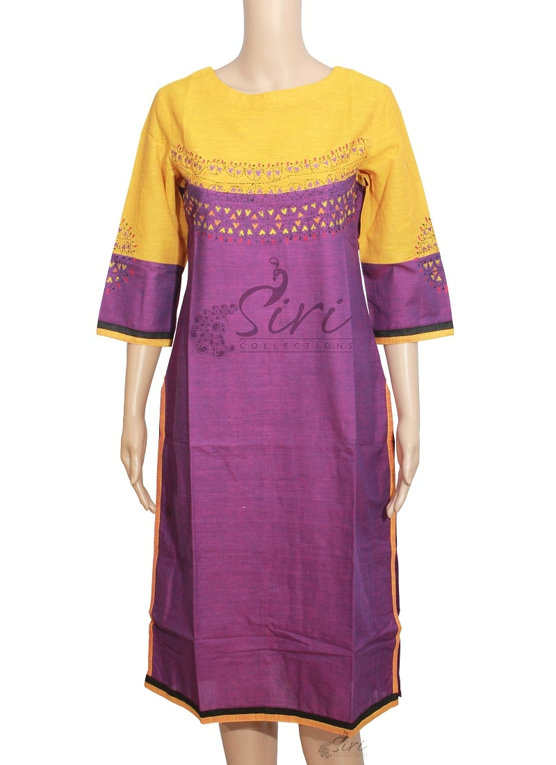 Yellow Purple Colour Cotton Kurti With Embroidery Work