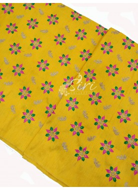 Yellow Raw Silk Fabric in Embroidery Work Per Meter