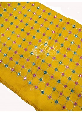 Yellow Raw Silk Fabric in Mirror and Embroidery Work Per Meter