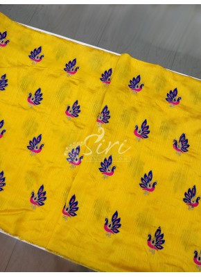 Yellow Raw Silk Fabric in Peacock Design Butis Embroidery Work Per Meter