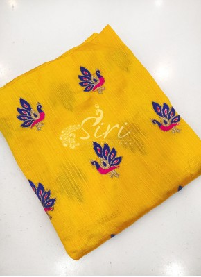 Yellow Raw Silk Fabric One Meter Cut Piece
