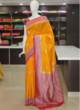 Yellow Red Banarasi Jute Saree in Silver Zari