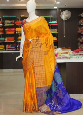 Yellow Royal Blue Designer Pure Soft Silk Saree in Checks Border