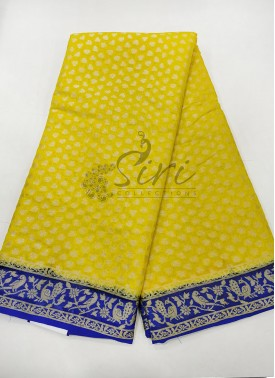 Yellow Royal Blue Pure Banarasi Georgette Saree