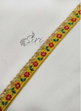 Yellow Saree Border Lace in Stone and Embroidery Work