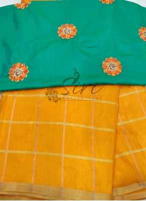 Yellow Silk Saree in Self Checks with Designer Blouse
