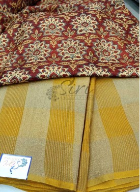 Yellow Soft Jute Saree in Self Checks with Designer Blouse