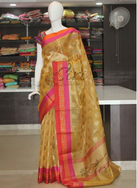 Yellow Tissue Saree in Self Zari Checks and Multi Borders